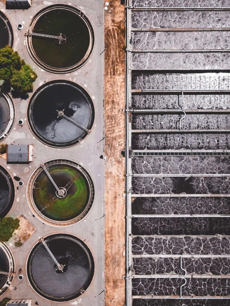 Sewage Treatment Plant Aerial View
