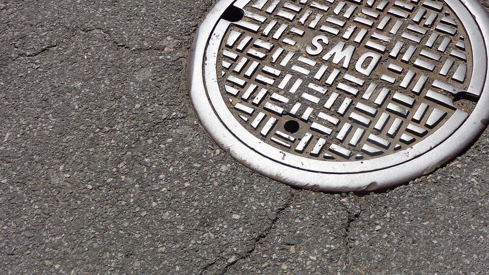 Manhole cover on road